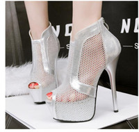 ankle bootie shoes - sexy peep toe meshy ankle bootie Breathable high heels women shoes gold white wedding dress sandals with zipper back colors size to