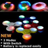 led fidget spinner battery off switch - Updated version led fidget spinner with switch on off Glowing Hand Finger Spinner LED spinners Toys can replace battery