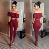 Wholesale New Arrival Western Style One Piece Shipping Spring and Summer Purity Flounces Short Tops Slim Pencil Pants Women s Two Piece Sets