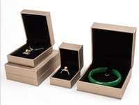 Wholesale PU leather bracelet box car line drawing golden skin Silver ring box necklace pendant jade gift boxes
