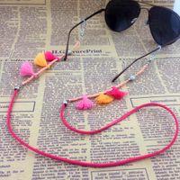 Wholesale GL202 pc trendy peach beads handmade tassel flannel rope innovative eyewear kids eyeglass chain lanyards
