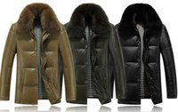 Wholesale Haining winter men s leather down jacket sheep leather fox fur collar men s wear long jacket warm coat middle aged