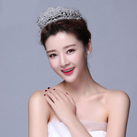 Wholesale 2017 Fashion Korean Big Diamond crown Bride wedding Headdress Wedding dress Headpieces