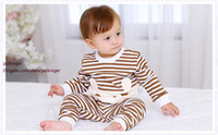 bear suit baby - Hot Baby Boy Girl Pants Set Long Sleeve Bear Newborn Baby Suit Boy Ear Clothing Striped Sets Gift Suits Kids Clothes Set Infant