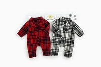Wholesale 2017 New Autumn baby rompers plaid baby boys romper spring cotton brand newborn baby rompers clothes jumpsuit