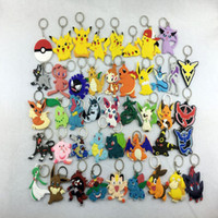 Wholesale PVC Pocket Monster keychain Poke Silicone Pendant Pikachu Poke Ball Keychain Double Sided Design Key Chain Kids Gifts