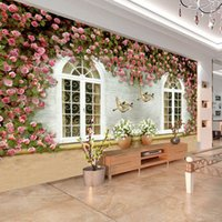 Wholesale Photo any size d murals wallpaper for living room flower window custom fashion decor home decoration for bedroom living room