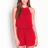 Wholesale Rompers Women s Clothing Overalls Sexy Summer Brand Casual Black Sleeveless Halter Keyhole Back jumpsuits for women