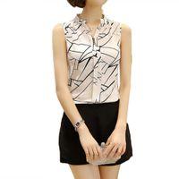 Wholesale Fashion Summer Women Ladies Sleeveless V Neck Chiffon Blouse Flower Printed Blouses White Striped Office Shirts Female Z2
