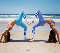 Wholesale Woman Yoga Outfits Quick Drying Tight Pants Black And White purple blue Pink Stripes Stitching Yoga Pants Fall Sports Leggings Ring Printing
