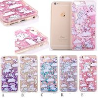 Wholesale Liquid Unicorn Horse Flower TPU PC Hard Case For iphone S Plus I7 Bling Glitter Quicksand Skin Star Love Cover