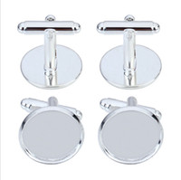 Wholesale high quality of mm round gold silver plated cufflinks blank white k base found jewelry