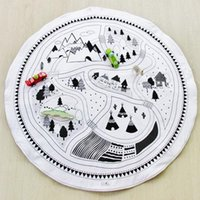 Wholesale New INS Children Soft Round Game Mats Kids Cotton Crawling Blanket Play Game Indoor Outdoor Mat Baby Room Decoration Round Game Carpet
