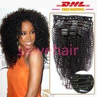 Libere el clip rizado rizado brasileño sin procesar de la nave 7A en extensiones del pelo humano, clip negro 1B en el pelo