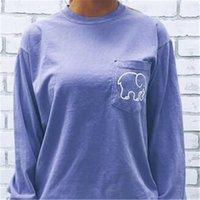 Wholesale Stylish White Shirts For Women - Designer Print Womens T Shirts Lovely Elephant Irovy Ella Stylish Solid Long Sleeve for Spring and Fall