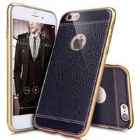 Wholesale PU Leather Shock Absorption Bumper Hybrid Slim Fit Plating Rubber Silicone Back Case Cover for iPhone S Plus quot quot