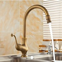 Wholesale luxury antique kitchen faucet with deck mounted kitchen sink faucet of hot cold brass ktichen faucet