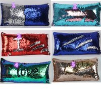 Wholesale 5 Colors Double Sequin Pillow Case Cover Glamour Square Pillow Case Cushion Cover Home Sofa Car Decor Mermaid Bright Pillow Covers