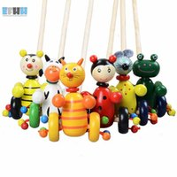 Wholesale Wooden Cartoon Baby Toddler Putting Animals Puzzle Trolley Toy Baby Gift Puppet