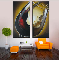 Wholesale Hand Painted Modern Wall Art Panel Wine Glass Group Oil Painting On Canvas for Bar Decoration