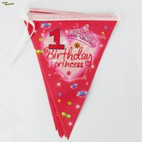 Wholesale Flags m st Birthday Princess Birthday Boy Bunting Pennant Flags Banner Kids Birthday Party Decoration Baby Shower Supply