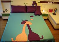 al por mayor reina juego de edredón jirafa-Giraffe Comforter Bedding establece reina tamaño rey cama en una bolsa de hojas de remiendo cubrecama edredón edredón doona bedset verde púrpura