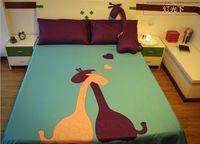 achat en gros de reine jeu de couette girafe-Giraffe Comforter Literie ensembles queen size roi lit dans un sac feuilles patch couette housse couette couette doona bedset vert pourpre