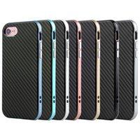 Para el iphone 7 6s más la cubierta de la resistencia TPU + de la gota de la caja de la fibra del carbón Caso multicolor al aire libre del negocio de los pares circulares para el iphone 6 6s