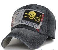 baseball cap sticker - Sports and leisure nostalgia denim skull stickers embroidery cap tongue and hats men and women baseball cap
