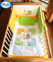 Wholesale European Pali baby bedding set pieces crib infant bedding cover cute little bear cotton baby bumper pad