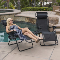 Wholesale 2PC Zero Gravity Chairs Case Lounge Patio Chairs Outdoor Yard Beach Garden Black