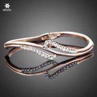 Bangle austrian crystal bangles - MOZEL Fashion Jewelry Swarovski Elements Rose Gold Plated Stellux Austrian Crystal Bangle Bracelet TB0005