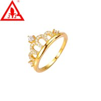 Wholesale Luxury Rings Jewelry Crown Charms K Gold Plated Brand AAA CZ Crystal Simulation gemstone ct Engagement Wedding Hot Sale