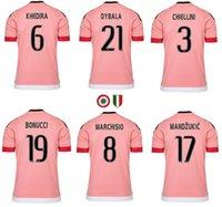 Precio de Camisetas de fútbol de color rosa-2015 2016 jerseys de fútbol rosa Italia club MARCHISIO DYBALA MORATA MANDZUKIC DANI ALVES HIGUAIN POGBA juv Camisetas de alta calidad