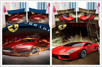 Wholesale amazing design bright red color car print bedding sets boys home decor double twin size home textile quilt duvet covers pieces