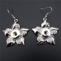 bauhinia crystal gifts - Pink White Mix Rhinestone Bauhinia Flower Noosa Chunks Metal Ginger mm Snap Buttons Earrings For Female