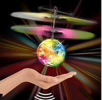 Wholesale Helicopter Flying Ball Induction LED Noctilucent Sensor Suspension Remote Control Aircraft Kids LED ball Toy Gift KKA1251