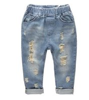 Wholesale 2017 Hot sale Ripped jeans for kids Fashion denim children s clothing baby boys girls jeans for children brand slim casual pants free shippi
