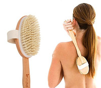 Wholesale Natural Long Wooden Bath Brush Bristle Body Cleaning Brush Massager Bath Shower Back Spa Scrubber Bathroom Products