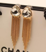 allergy to silver - Europe and the United States to restore ancient ways big tassel earrings Long temperament fashion crystal allergy gem earrings Long temperam