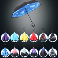 Wholesale Windproof Double Layer Folding Inverted Umbrella Rain Protection Car Reverse Umbrellas with C shaped Handle for Adult Colors