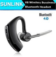 Wholesale V8 Voyager Bluetooth Headset Legend Wireless V4 Business Stereo Headphone Earphones With Mic Ear hook Handfree for iPhone Smart Phones