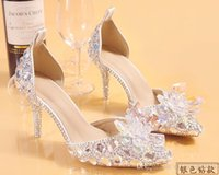 Wholesale Fashion Luxurious Silver Rhinestone Bride Wedding Shoes For Women Low Heel Two colors Drop Shipping