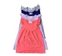 achat en gros de perle solide-2016 Nouvelle Arrivée 160cm (11-12t) 60cm (0-6m) Vente en gros Hot Sale Enfants Vêtements Solid Enfants Frock robe Design Boutique Baby Girl Pearl Cotton