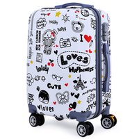 Femmes Rolling Luggage Bagages Trendy 20 Pouces Cartoon Animal Plant Letter Print Spinner Bagage Trolley Case DHL gratuitement