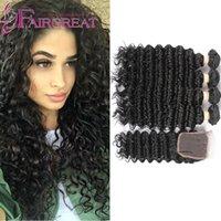 Peruvian Hair 4 Bundles 400g 7A Deep Wave Remy Extensiones de Cabello Humano Con Encierro No Procesados Humanos Cabello Paquetes con 4 * 4 Cierre