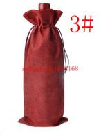 Wholesale 300pcs Jute Wine Bottle Bags cmx37cm champagne Bottle Covers Linen Gift Pouches Burlap Hessian Packaging Bag