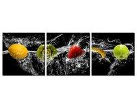 Большие Современные 3 Панели Фрукты Киви Клубника Банан Яблоко Жикле Печать холст стены искусства Работа повесить для гостиной Кухня дома