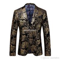 Wholesale Men Gold European Style Tuxedo Blazer Autumn Winter Slim Fit Velvet plus suit blazer For Men