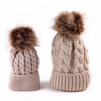 amazing daughter - Winter Mom And Daughter Matching Knitted Beanie Cap Keep Warm Faux Fur Hats Gorro Chapeu Amazing Sep